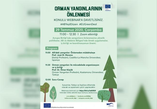 """Avrupa Komisyonu Tarafından """"Orman Yangınlarının Önlenmesi"""" Konulu Webinar Düzenlenecek"""
