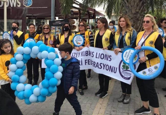 Kuzey Kıbrıs Lions Kulüpleri Federasyonu Dünya Diyabet Gününde Farkındalık yürüyüşü düzenledi